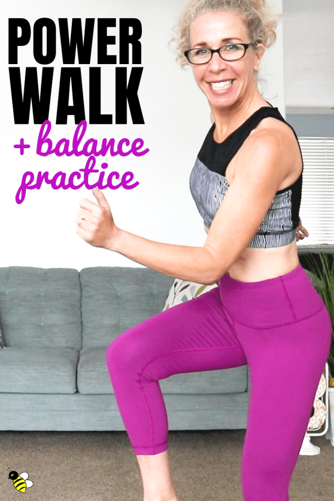 It's the perfect combination: a fast-paced and fun POWER WALK with challenging BALANCE PRACTICE.  This fantastic home workout is LOW IMPACT (no jumping) but high intensity, with plenty of heart-pounding cardio, and just the right amount of single-sided balance work to keep you on your toes.