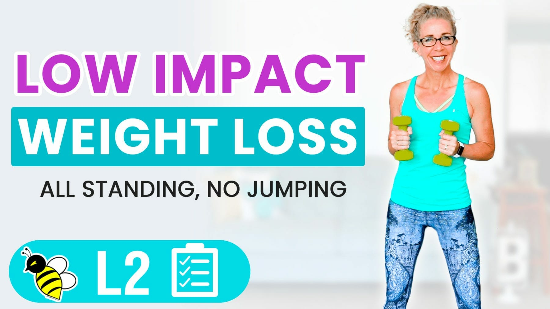 25 Minute Low Impact WEIGHT LOSS Workout with Weights BURN 250 Calories