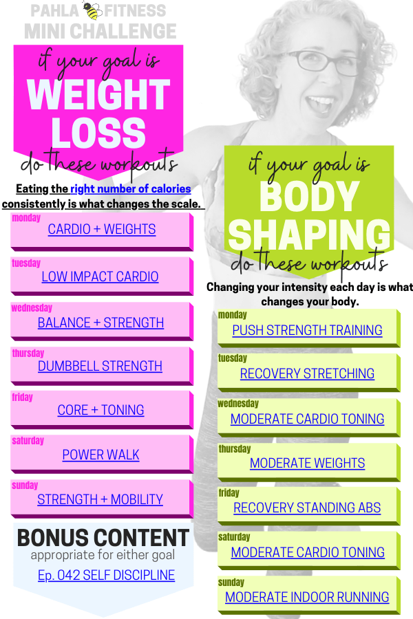 Here's your FREE weekly workout schedule, planned and ready to sweat!  All you have to do is choose your GOAL, and the workout videos are chosen for YOU.