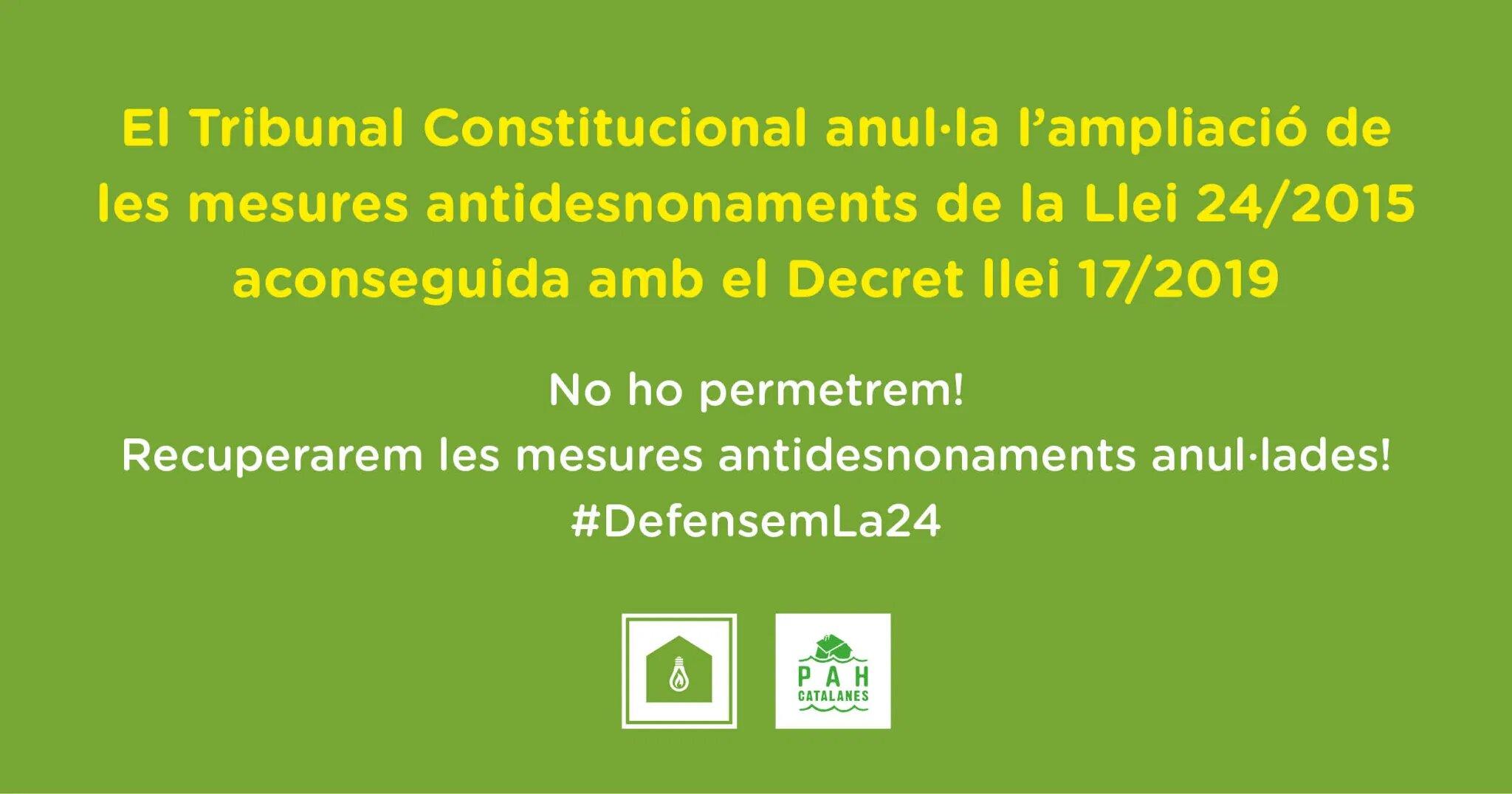 El Tribunal Constitucional anula la ampliación de las medidas antidesahucios de la Ley 24/2015 conseguida con el Decreto ley 17/2019