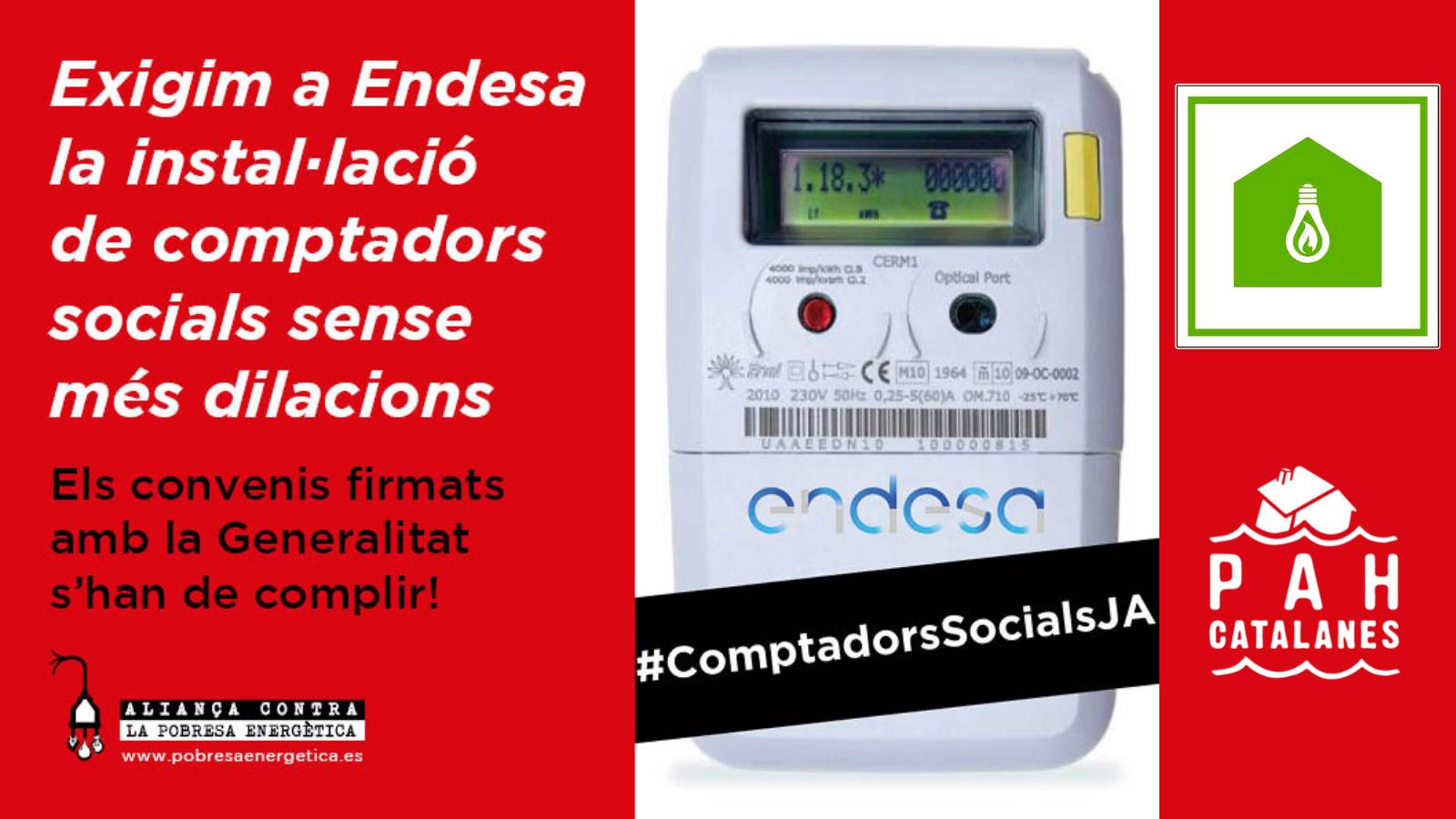 Exigim a Endesa la instal·lació de comptadors socials sense més dilacions