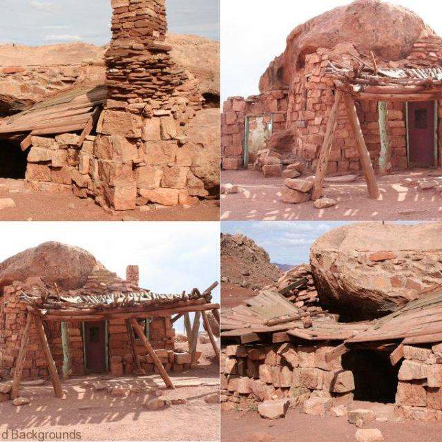Ruins of early American houses