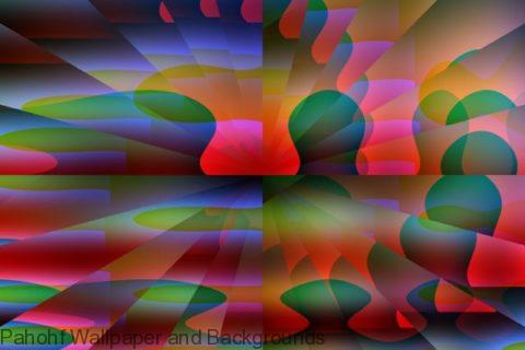 Abstract red blue and green cubist illusion shapes