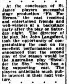 """Fit For Heroes"" social notice Townsville Daily Bulletin Thurs 14 May 1953"