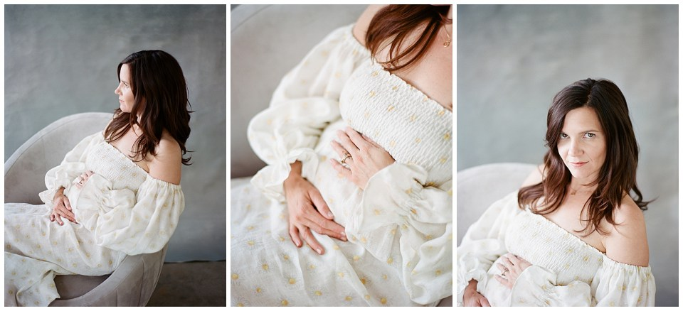picture of expectant mother in white dress denver