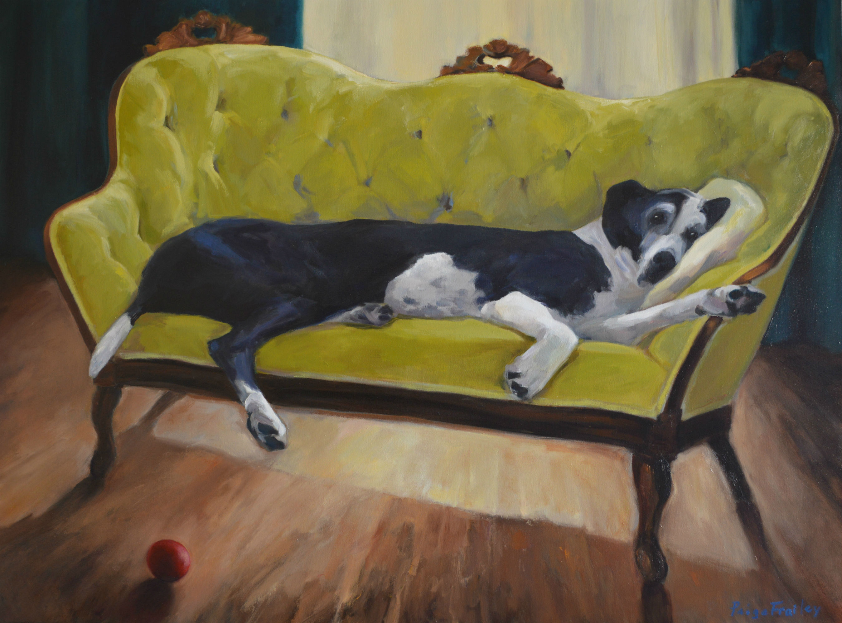 """I knew I wanted to paint this giant dog for a long time but couldn't place him until I saw this small velvet settee.   I enjoyed the contrasts of clumsy and genteel, black coat against chartreuse green, the  formal setting and the very relaxed, without a care in the world canine.  (And this is from someone who doesn't let their dogs on the furniture!) 30"""" x 40"""", Oil on canvas"""