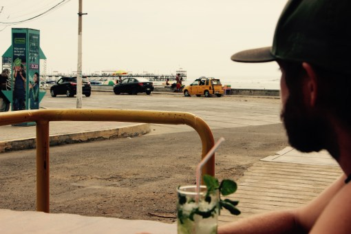 Steve soaking up the view with a coconut mojito!