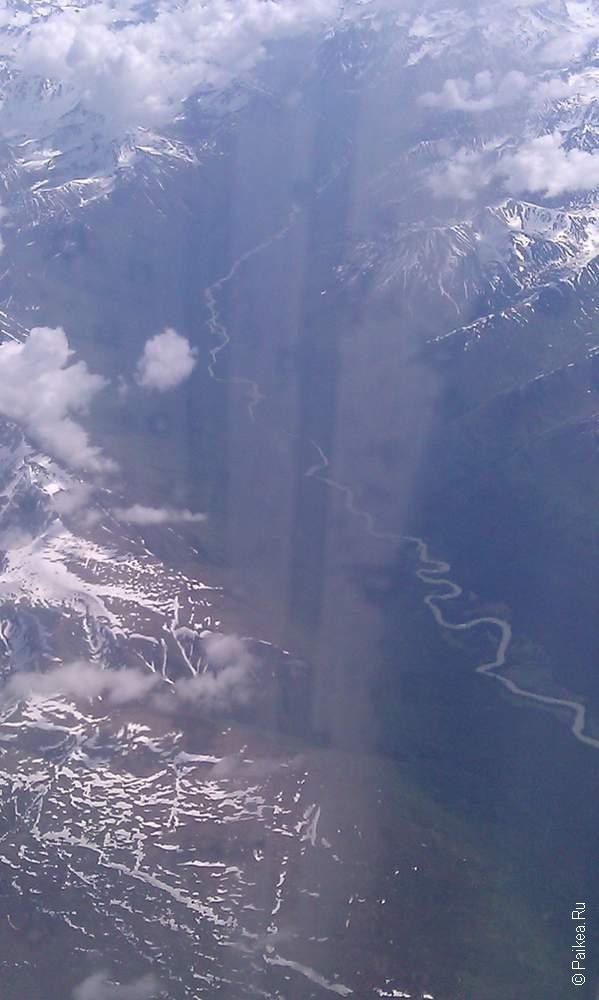 анкоридж, вид на землю из иллюминатора