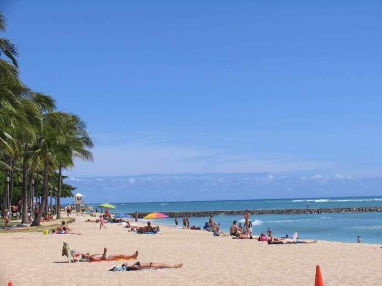 пляж вайкики гавайи, оаху, гонолулу