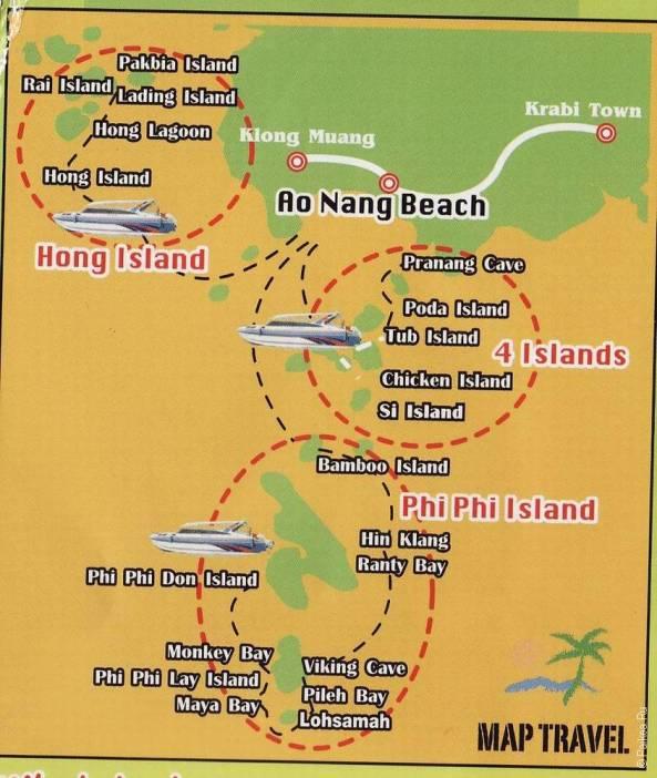 Маршруты экскурсий с Ао Нанг по островам