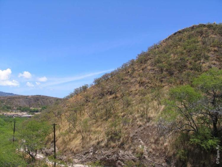Вид на остров Оаху с вулкана