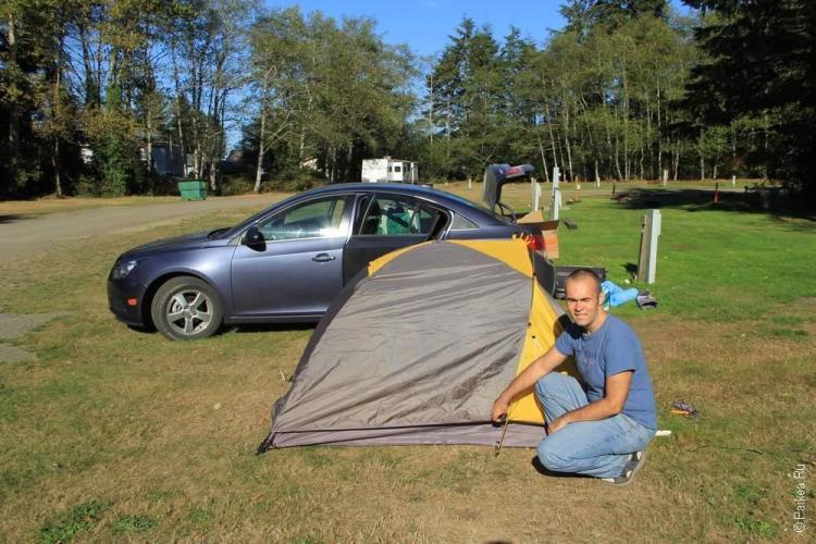 Бюджетное путешествие в США - Палатка в кемпинге на мысе Флаттери