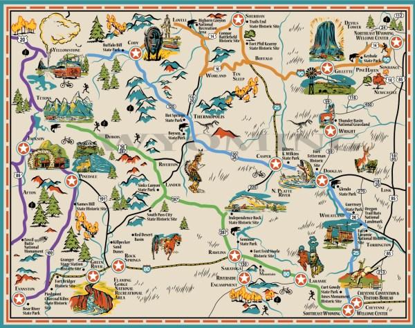 Карта штата Вайоминг