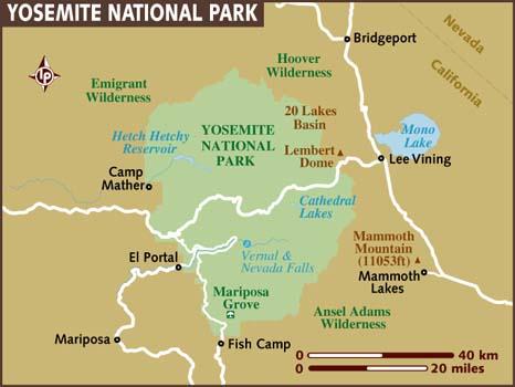 Карта нацпарка Йосемити (кликабельна!)