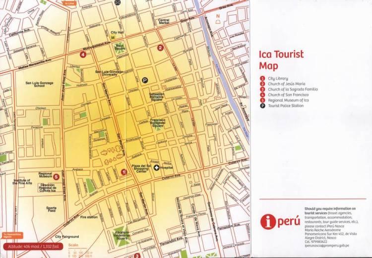 Карта города Ика в Перу