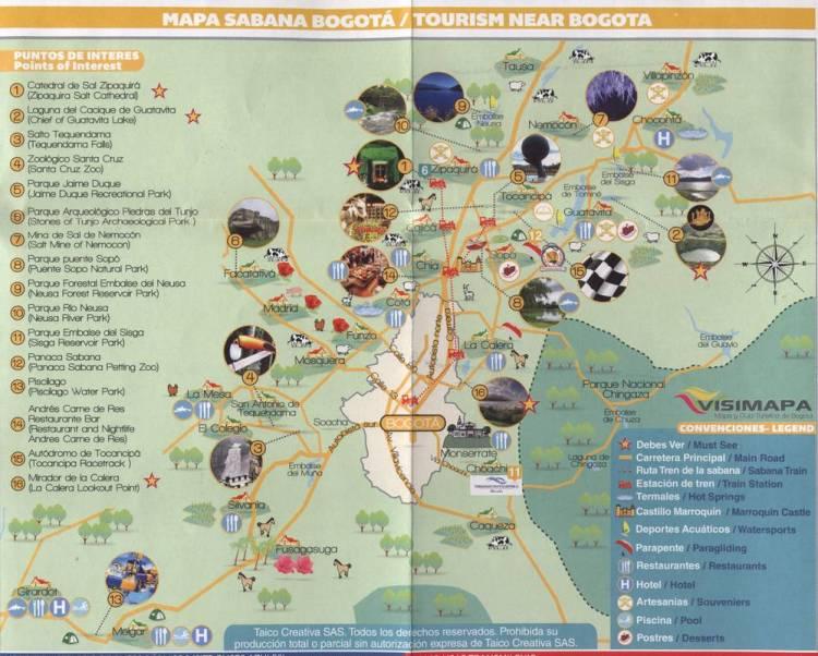Карта окрестностей Боготы