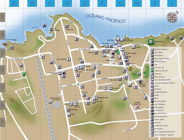 карта ханга роа, остров пасхи