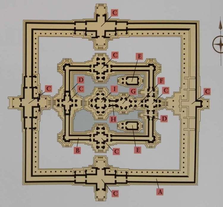Схема храма Бантей Самре в Камбодже