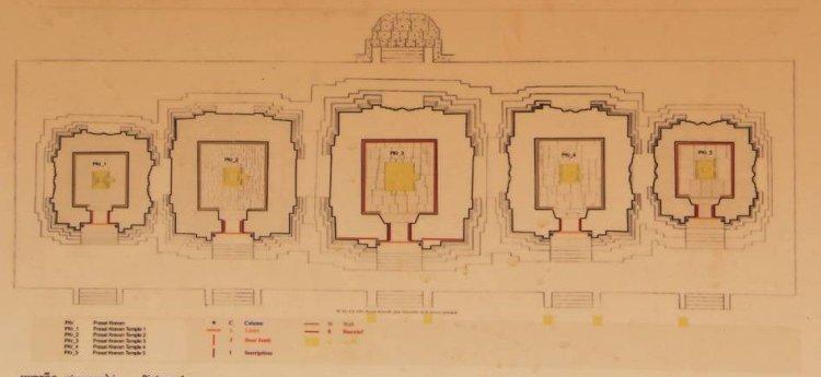 Карта-схема восстановленного кхмерского храма Прасат Краван