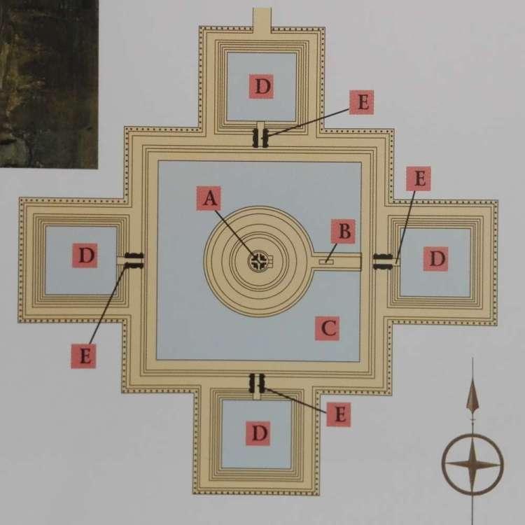 Схема храма Неакпеан в Ангкоре