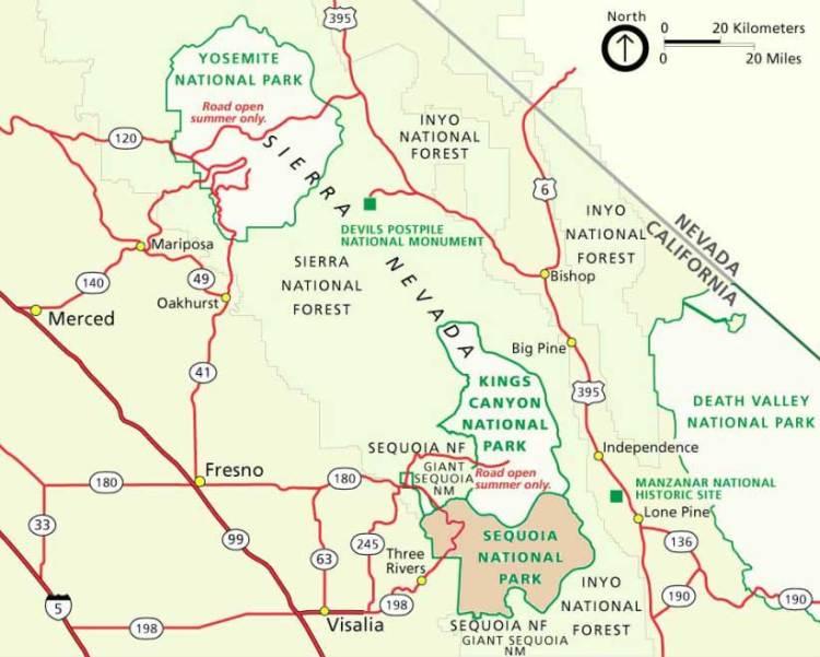 парк кингс-каньон на карте