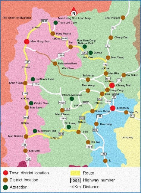 Карта петли Мае Хонг Сон (Mae Hong Son Loop)