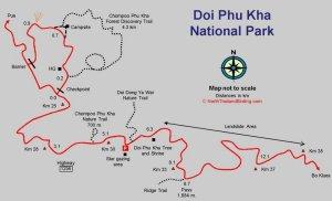Карта национального парка Дой Пху Ка