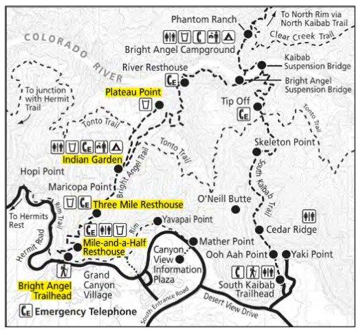 Карта Bright Angel Trail в Гранд-Каньоне