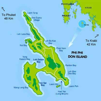 Пхи-Пхи карта острова