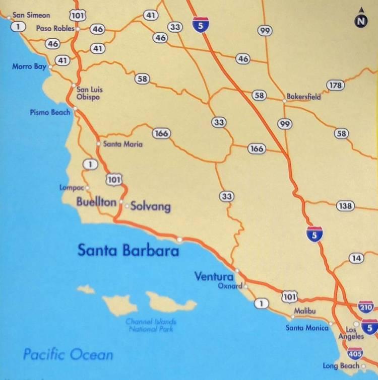 Санта-Барбара карта окрестностей