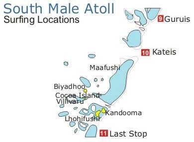 Карта спотов для серфинга на Мальдивах