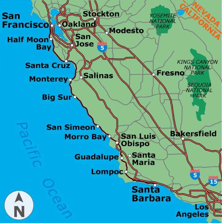 المسافة سان فرانسيسكو لوس أنجلوس بالسيارة كيفية الانتقال من لوس أنجلوس إلى سان فرانسيسكو ماذا ترى في لوس أنجلوس في غضون أيام قليلة
