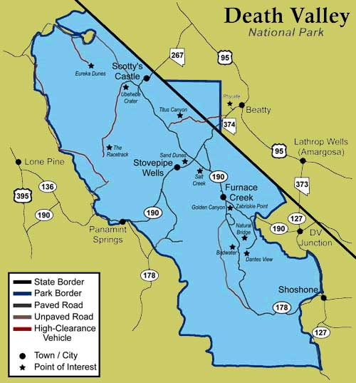 Долина Смерти карта дорог