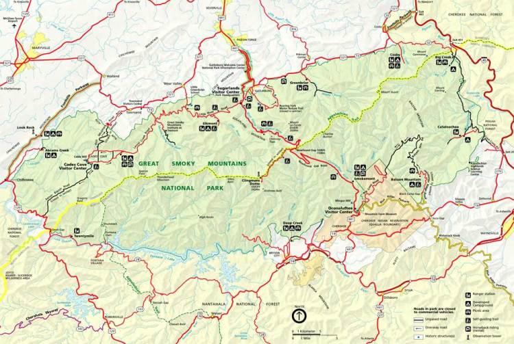 карта парка грейт смоки маунтинс