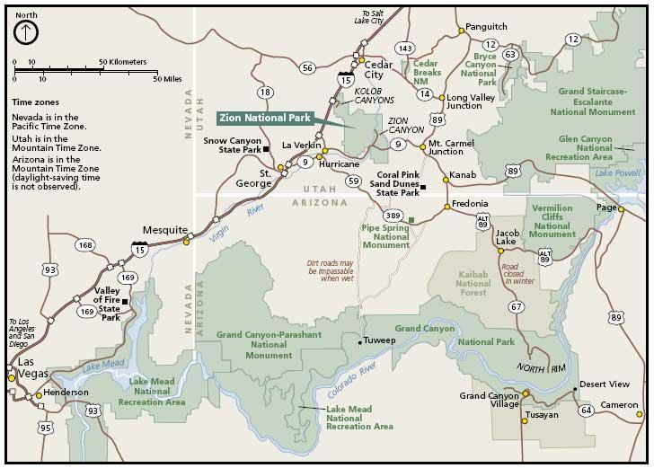 парк зайон на карте