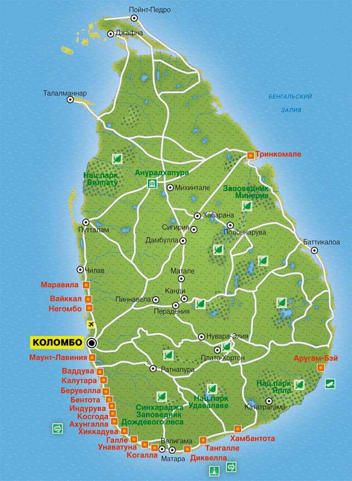 Карта пляжей Шри-Ланки