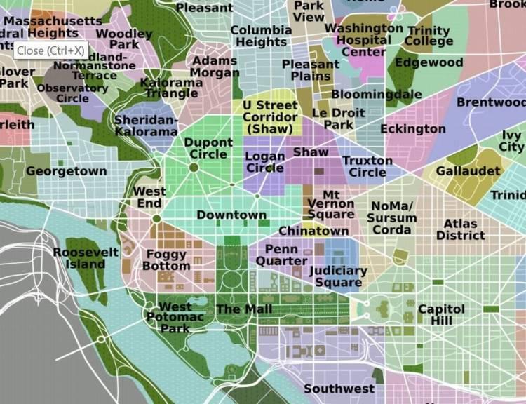Районы Вашингтона в центре
