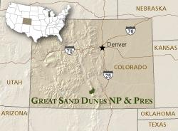 Грейт Сэнд Дьюнс на карте США