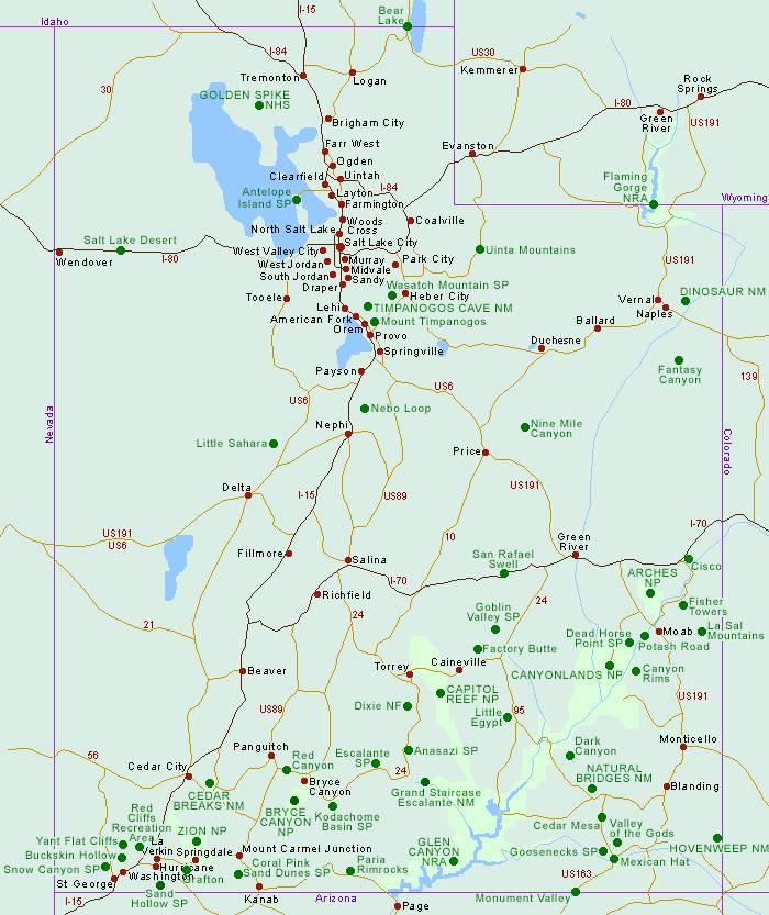 карта дорог штата юта сша