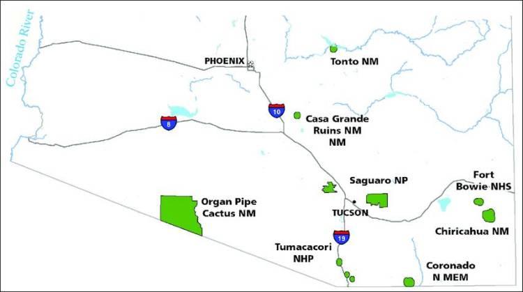 Национальный парк Сагуаро (Аризона, США) на карте