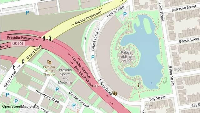 дворец изящных искусств cан франциско на карте