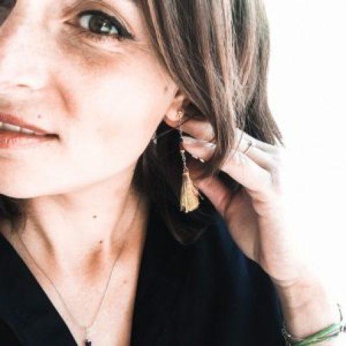 boucles d'oreilles pompons en lin