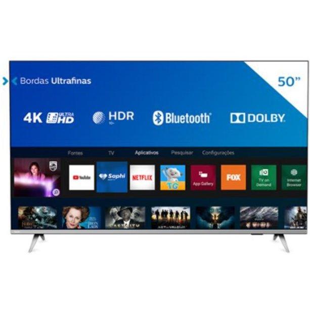 "Smart Tv Led 50"" Philips 50pug6654/78 Ultra Hd 4k Design Sem Bordas W"
