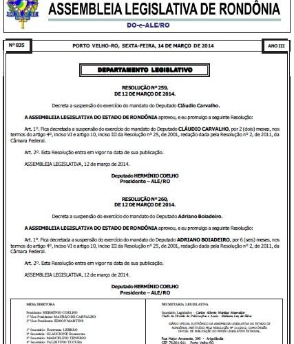 Decreto de afastamento e punição dos deputados envolvidos na Operação Apocalipse