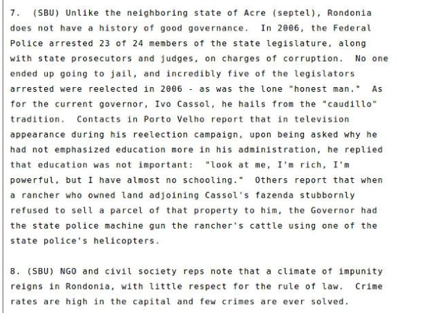 Trecho do relatório destaca impunidade em Rondônia
