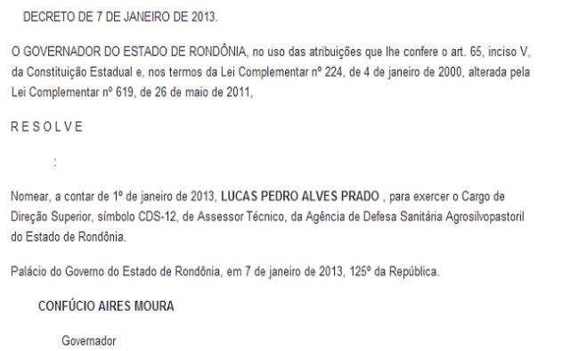 nomeação Lucas Pedro Alves Prado