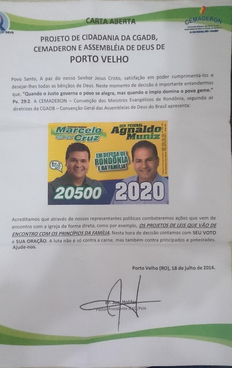 Divulgados pela Cemaderon, impressos com pedido de voto a evangélicos da Assembleia de Deus tem o CNPJ de Agnaldo Muniz