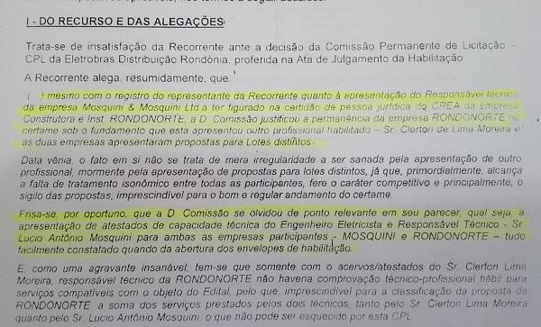 Em licitação de 2011, a Rondonorte foi desclassificada por ter apresentado Mosquini como Responsável Técnico