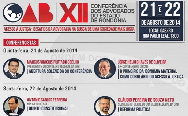 Conferência dos Advogados de Rondônia acontece dias 21 e 22 de agosto