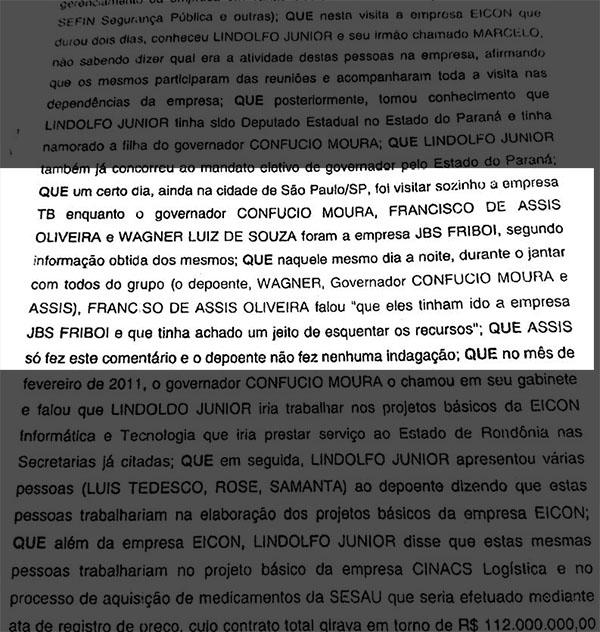 Trecho do depoimento de Batista à Polícia Federal